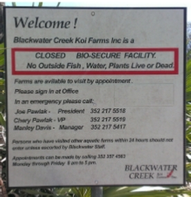 Our Bio Security sign at the entrance to our farm