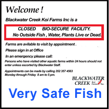 Bio Security Sign at Blackwater Creek Koi Farm
